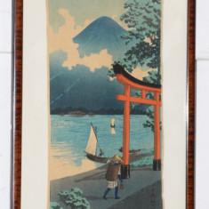 Motiv Japonez; Tablou cu rama din lemn; Imprimeu cu tus pe hartie creponata