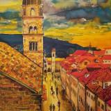 "Tablou peisaj urban""Sunset Street 2"" - Pictor roman, Peisaje, Acuarela, Impresionism"