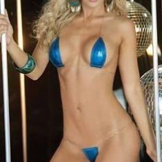 Micro Costum de Baie Set Bikini Sutien Bretele Invizibil Metalic Lady Lust Sexy, Marime: One size, Culoare: Albastru, Auriu, Bleu, Mov, Negru, Rose, Roz, Verde