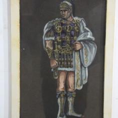 Tiberius - Tablou acuarela pe carton negru; Rama din lemn;