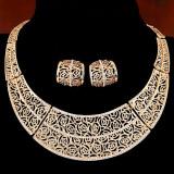 Set colier amplu si cercei in stil egiptean, placat cu aur fin