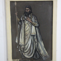 Preot Dac - Tablou acuarela pe carton negru; Rama din lemn;