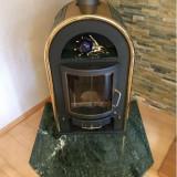 Semineu soba fonta + Marmura + elemente aurite 7 kw Pret nou 4500 Euro