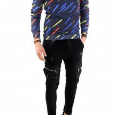Bluza cu nastrui tip ZARA imprimeu - pulover barbati - COLECTIE NOUA 7777, Marime: XL, Culoare: Din imagine