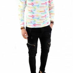 Bluza cu nasturi si imprimeu - pulover barbati - COLECTIE NOUA 7776, Marime: L, XL, Culoare: Din imagine, La baza gatului, Bumbac