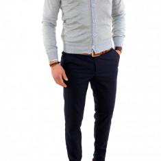 Bluza cu nastrui tip ZARA gri - pulover barbati - COLECTIE NOUA 7744, Marime: L, Culoare: Din imagine