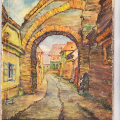 Bnk cp Sibiul vechi - album cu 10 carti postale in desene de Hans Hermann - Carte Postala Transilvania dupa 1918, Necirculata, Printata