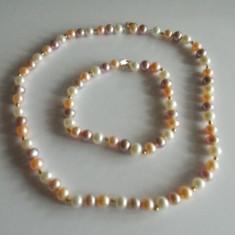 Set bratara si colier din perle multicolore, inchizatoare din aur 14k -1133 - Colier perle
