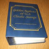 ALBUM FDC CU 100 REPLICI TIMBRE S.U.A. PE FOITA DE AUR 22K PERIOADA 1847 - 1932