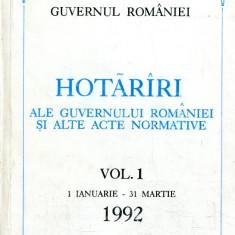 LICHIDARE-Hotarari ale guvernului Romaniei si alte acte normative, vol. 1- 1 ianuarie-31 martie 1992 - Autor : - - 109449 - Carte Drept penal