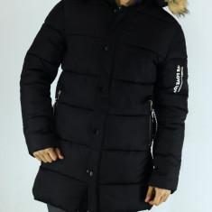 Geaca lunga barbati - Neagra cu gluga - groasa de fas tip ZARA - fashion - Geaca barbati, Marime: XL, Culoare: Negru