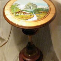 Masa masuta rotunda din lemn cu un picior blat pictat manual anii 60