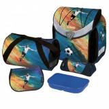 Ghiozdan ergonomic echipat, HERLITZ Flexi Plus Goal - NOU - NEFOLOSIT, Albastru