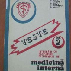 LICHIDARE-Teste- intrebari cu raspunsuri performante de medicina interna- vol.II - Autor : Boca I. - 88703