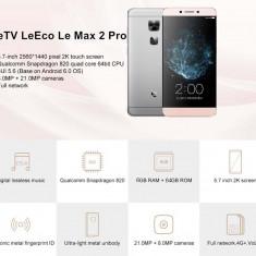 LETV MAX2 (X820) 4Gb RAM/ 32Gb ROM/ 21mpx/ 2k DISPLAY/ ANDROID 6/ FINGERPRINT - Telefon mobil Dual SIM, Auriu, Neblocat, Dual SIM, Quad core