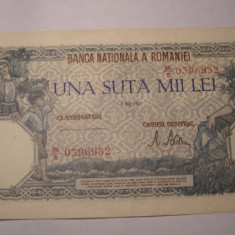100000 lei 1947 Mai AUNC - Bancnota romaneasca