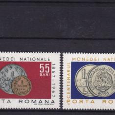 ROMANIA 1967 LP 646 CENTENARUL MONEDEI NATIONALE  SERIE   MNH