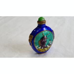 Sticluta de Parfum cu email pentru Poseta VECHE Splendida SUPERBA vintage RARA