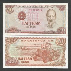 VIETNAM 200 DONG 1987 ( 1988 ) UNC [1] P-100b, necirculata - bancnota asia