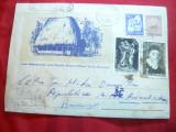 Plic ilustrat Casa taraneasca in Muntii Apuseni cod 262/1961 , patat