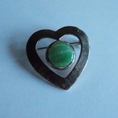 Brosa de argint cu quart verde -1129 - Brosa argint
