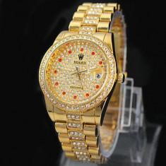 CEAS DAMA ROLEX OYSTER PERPETUAL5 Gold-PRET IMBATABIL-CALITATEA 1-SUPERB-REDUS, Elegant, Quartz, Placat cu aur, Data