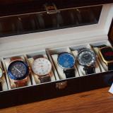 OFERTA FULGER! Pachet 6 ceasuri barbatesti + cutie compartimentata POZE REALE - Ceas barbatesc, Elegant, Quartz, Piele ecologica, Nou