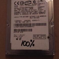 Hard Disk / HDD SATA HITACHI 80GB 100% HEALTH Laptop - HDD laptop Hitachi, 41-80 GB, Rotatii: 5400