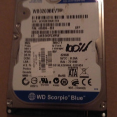 Hard Disk / HDD SATA WESTERN DIGITAL SCORPIO BLUE 320GB 100% HEALTH Laptop - HDD laptop Western Digital, 300-499 GB, Rotatii: 5400