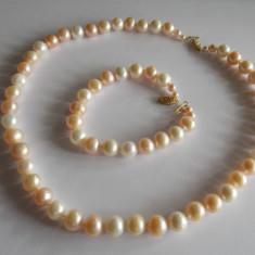 Set colier si bratara din perle naturale cu inchizatoare din aur 14k