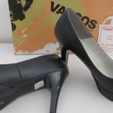 Pantofi dama din piele naturala, noi, mărimea 39, lichidare stoc, Bleumarin, Cu toc