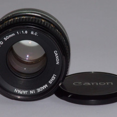 Obiectiv Canon FD 50mm F1.8 S.C. + capac fata - Transport gratuit prin posta! - Obiectiv DSLR