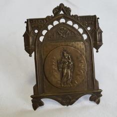 RARA Icoana de masa Fecioara Maria cu Pruncul Isus executata manual de Colectie - Icoana din metal