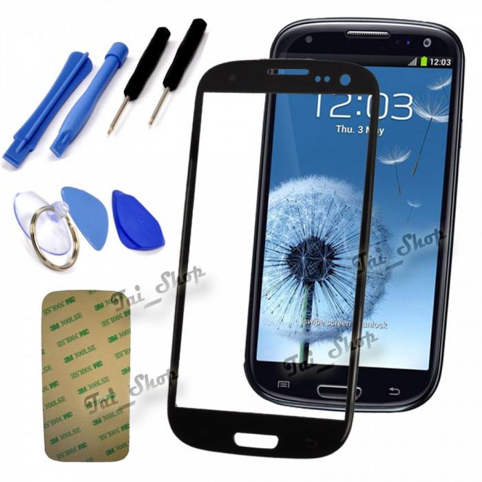 Sticla Display Fata Samsung Galaxy S3 MINI i8190 NEGRU + scule si folie ecran