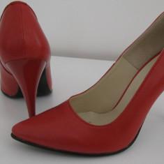 Pantofi stiletto din piele naturala, noi, mărimea 38, calapod confortabil - Pantof dama, Culoare: Rosu, Cu toc
