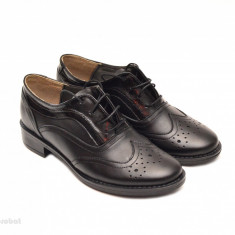 Pantofi dama negri casual-eleganti din piele naturala Oxford Black cod P71 - Pantof dama, Culoare: Negru, Marime: 35, 36, 37, 38, 39, 40, Cu talpa joasa