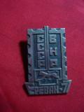 Insigna Expozitia Filatelica URSS -Ungaria la Erevan 1977 , metal si email ,4,2c