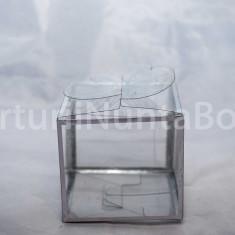 Marturii nunta/botez cutie cadou plastic transparenta sistem inchidere fluture