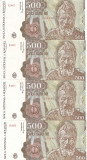 ROMANIA 500 LEI APRILIE 1991 SERIE CONSECUTIVA AUNC - PRET PER LOT