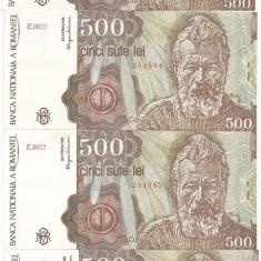 ROMANIA 500 LEI APRILIE 1991 SERIE CONSECUTIVA AUNC - PRET PER LOT - Bancnota romaneasca