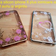 Husa silicon iphone 6 plus inimioare, flori fond auriu si argintiu - Husa Telefon