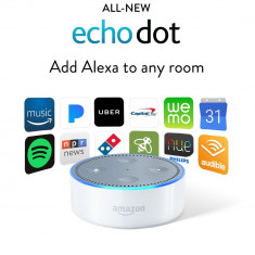 Amazon Echo Dot 2 - Asistent inteligent - Functioneaza in Ro | Din SUA, 10 zile