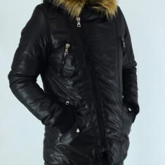 Geaca lunga barbati groasa de iarna neagra parka slim fit casual fashion - Geaca barbati, Marime: XXL, Culoare: Negru