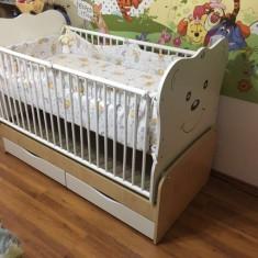 Patut bebe transformabil pat copil - Patut lemn pentru bebelusi, 140x70cm, Alb