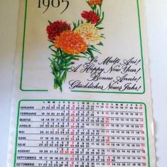 Calendar perete material textil 1985 Intreprinderea Sere Floraria Codlea 40x23cm - Calendar colectie