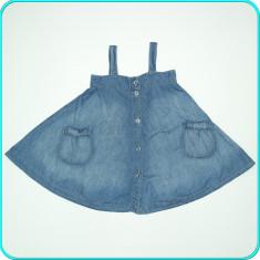 Sarafan, lungime reglabila, denim subtire, moale, H&M → fete | 9—10 ani | 140 cm