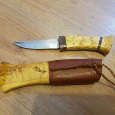 Cutit teaca lemn + piele - 129 lei - Briceag/Cutit vanatoare