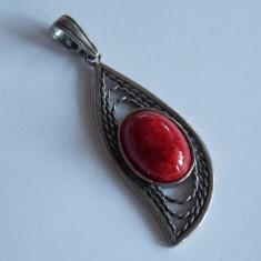 Pandant de argint cu coral rosu-1073 - Pandantiv argint