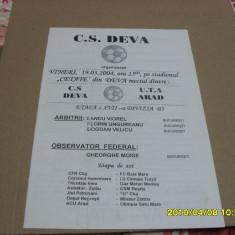 Program CS Deva - UTA - Program meci