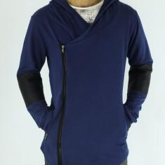 Cardigan barbati - tip zara - cu gluga - albastru - - Slim Fit - Fashion - Hanorac barbati, Marime: XL